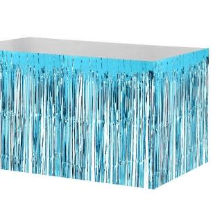 Ресни, завеса за декорация на маса /ПВЦ/ лъскави, цвят светло син 70х300см