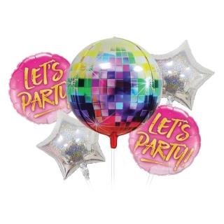 Комплект 5 бр. фолиеви балони Диско парти / Let's Party