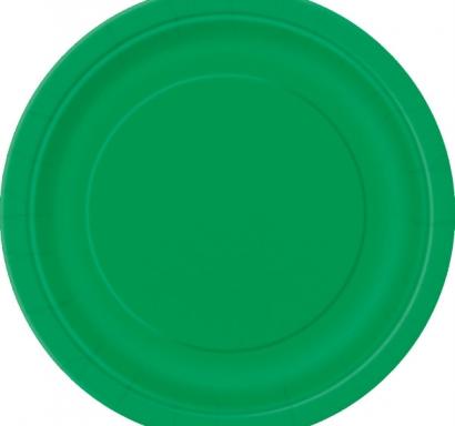 Хартиена парти чинийка тъмно зелена, 18 см