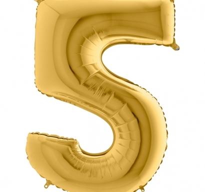 Фолиен балон цифра 5 цвят злато - 102 см височина /40