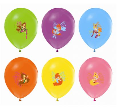 Балон с печат Уинкс Winx, диаметър 30 см, 5 бр. в пакет микс, лицензирани