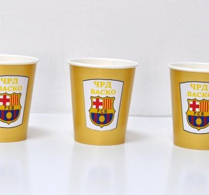 Персонализирана хартиена парти чашка 270 мл Барселона златна