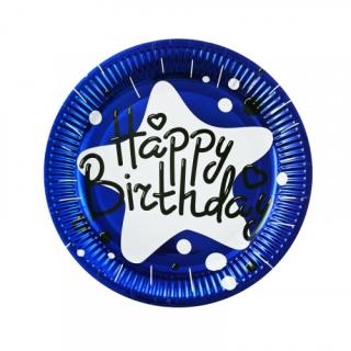 Хартиена парти чинийка Happy Birthday, синя фолио 23 см, 10 бр. в пакет