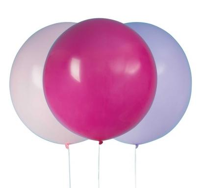 Балон голям, диаметър 60,9 см, 3 бр. в пакет микс цветове /розов, лилав, циклама/