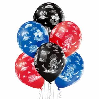 Комплект 6 бр. премиум балони с печат Пиратски кораб, пирати, микс цветове Belbal /Gd/