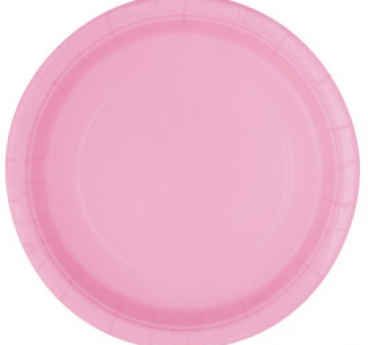 Хартиена парти чинийка светло розова, 18 см, 20 бр. в опаковка