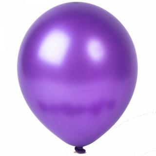 Балон виолетов металик, диаметър 30 см, 10 бр. в пакет