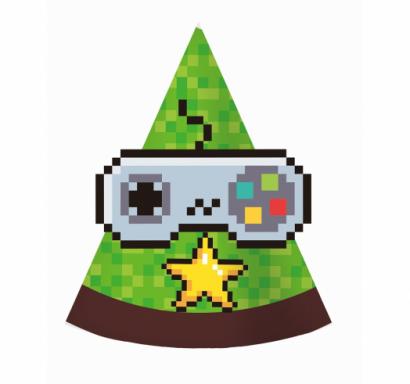 Парти шапка Геймърски рожден ден Майнкрафт / Game On,  6 бр. в опаковка /Gd/