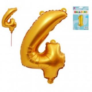 Фолиен балон цифра  0-9 цвят злато - 65 см височина