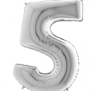 Фолиен балон цифра 5 цвят сребро - 102 см височина /40
