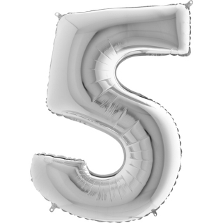 "Фолиен балон цифра 5 цвят сребро - 102 см височина /40""/"