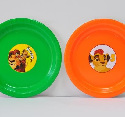 Персонализирана хартиена парти чинийка Цар Лъв, 5бр. пакет