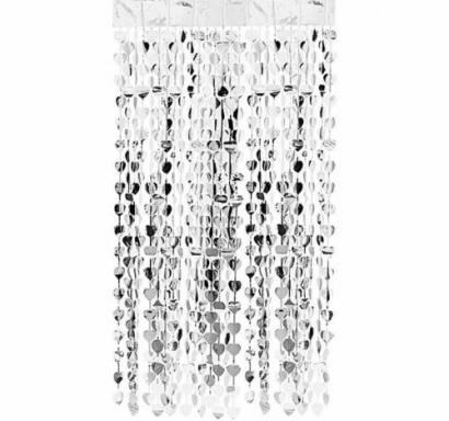 Ресни за декорация  във форма на сърца /ПВЦ/ лъскави, цвят сребро 100х180см