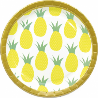 Хартиена парти чинийка Ананас / Pineapple, 23 см. диаметър, 8 бр. в опаковка /Gd/