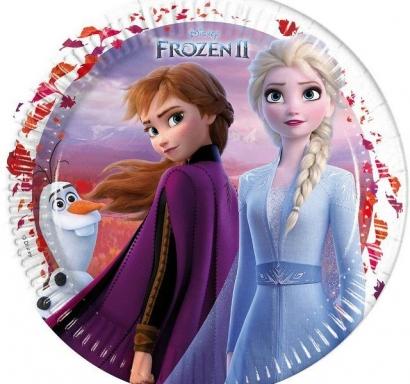 Хартиена парти чинийка Елза и Ана Замръзналото кралство 2 / Frozen 2,  23 см, лицензирани Дисни, 8 бр. в опаковка