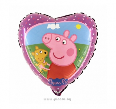 Фолиев балон Пепа Пиг сърце 45 см височина