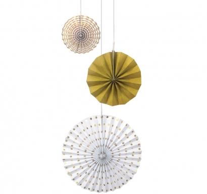 Висяща декорация - 3 бр. ветрило, цвят бяло и злато металик, диаметър 20,30 и 40 см