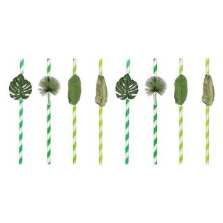 Картонени сламки зелени листа тропическо парти, 8 бр опаковка