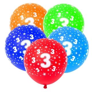 Комплект 5 бр. латексови балони с печат цифра 3, микс цветове