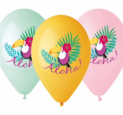 Комплект 5 бр. балони с печат Тукан Алоха, микс цветове Gemar /Gd/