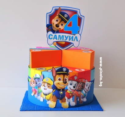 Хартиена торта с тематична декорация и персонализация Пес Патрул