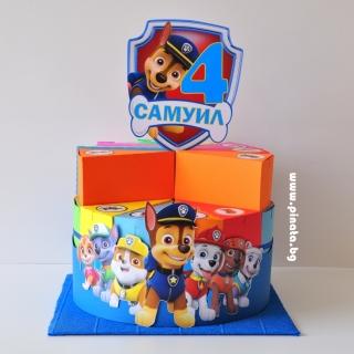 Хартиена торта с тематична декорация Пес Патрул
