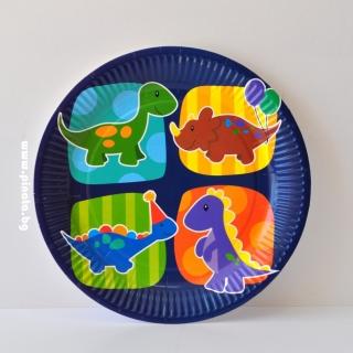Хартиена парти чинийка Динозаври