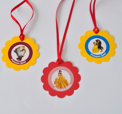 Персонализиран парти медальон Красавицата и Звяра, 5бр. пакет