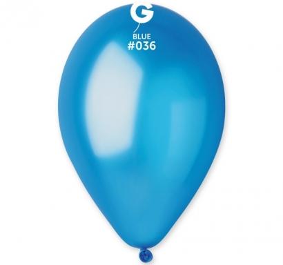 Балон  син металик, диаметър 26 см, 10 бр. в пакет Gemar /Gd/