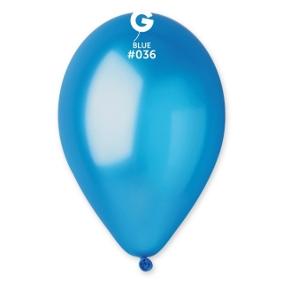 Балон  син металик, диаметър 26 см, 10 бр. в пакет Gemar Италия