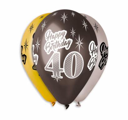 Комплект 6 бр. балони металик с печат 40 години Happy Birthday, микс цветове Gemar /Gd/