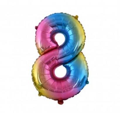 Фолиен балон цифра  0-9 цвят дъга - 81 см височина