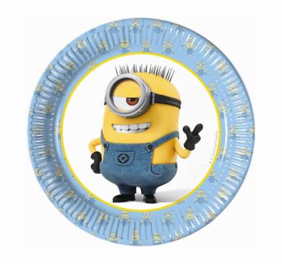 Хартиена парти чинийка Миньони / Minions 20 см. диаметър, 8 бр. в опаковка /Gd/
