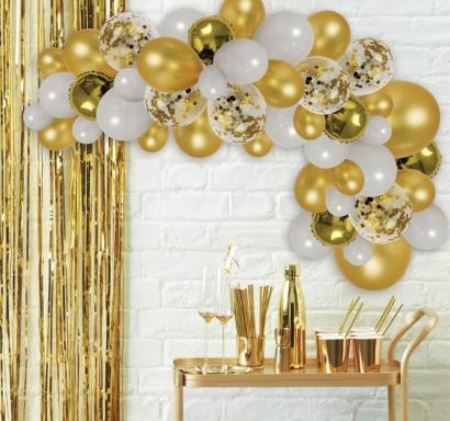 Комплект за украса с балони тип арка, 70 бр. балони в бяло и златно
