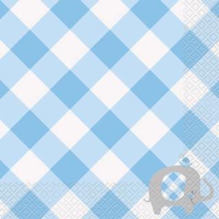 Парти салфетки Бебе, слонче, момче с флорални елементи, Blue Floral Elephant, 16 бр в пакет
