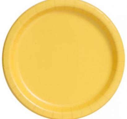 Хартиена парти чинийка жълта, 18 см, 20 бр. в опаковка