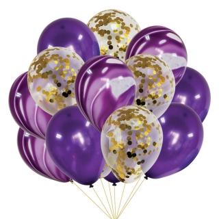 Комплект 12 бр. латексови балони - цвят лилаво, мрамор и прозрачни с блестящи златни конфети