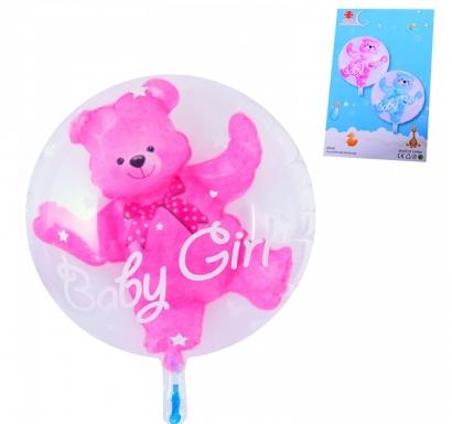 Балон с мече бебе момиче 2 в 1 /розов/, 56 см