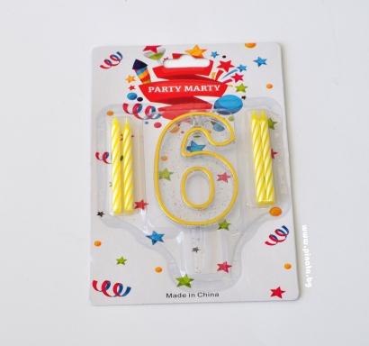 Свещичка за рожден ден - пвц цифра с брокат златна 0-9