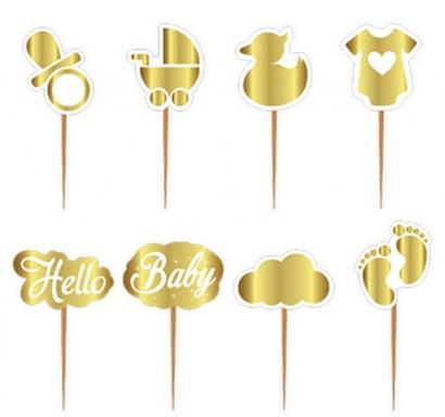 Топер за мъфини Добре дошло Бебе / Hello Baby, 8 бр. в опаковка, злато блестящи