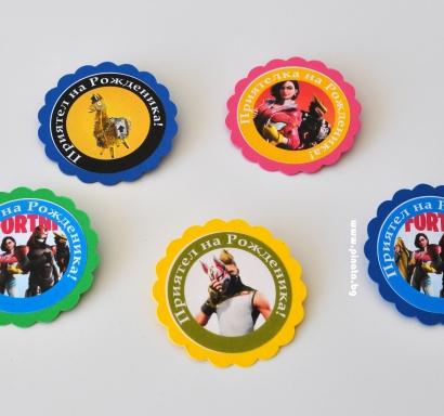 Персонализиран парти медальон тип значка Фортнайт Лама
