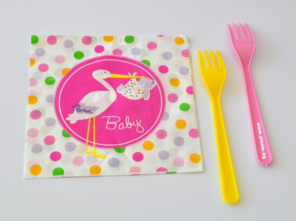 Парти салфетки Честито Бебе момиче /Добре дошла/ 33х33 см