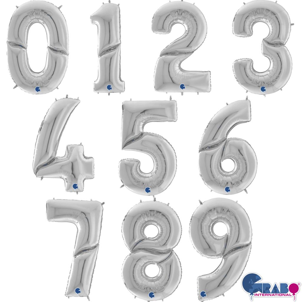 """Фолиев балон мини цифра 0-9 цвят сребро - 35 см височина /14""""/"""