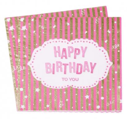 Парти салфетки Рожден Ден / Happy Birthday розови със злато, 12 бр. в пакет