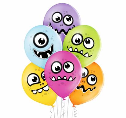 Комплект 6 бр. премиум балони Симпатични чудовища / Funny Monsters, микс пастелни цветове Belbal /Gd/