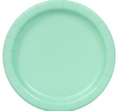 Хартиена парти чинийка цвят мента, 23 см