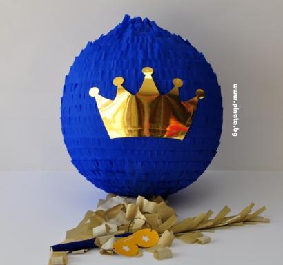 Пинята златна Корона диаметър 40 см