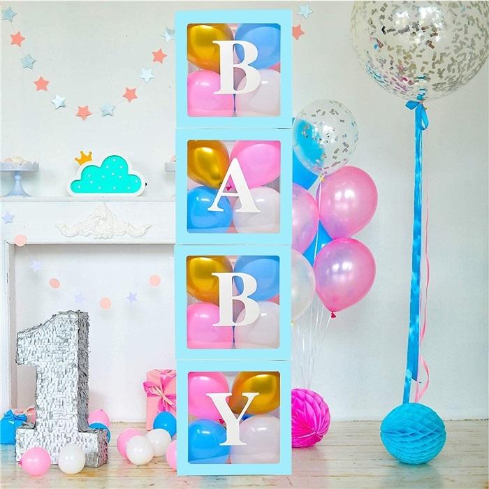 Комплект 4бр. декоративни прозрачни кутии за балони - Love, Baby, Boy, Girl ...цвят син