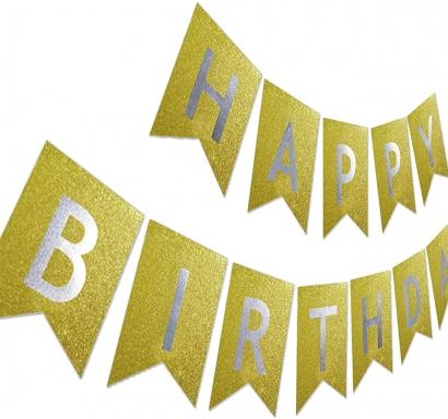 Банер комплект Happy Birthday / Честит Рожден Ден, златен брокат със сребърни букви