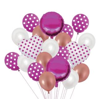 Комплект 20 бр. латексови и фолиеви балони - цвят розово, бяло и розово злато на точки, сърце, кръг